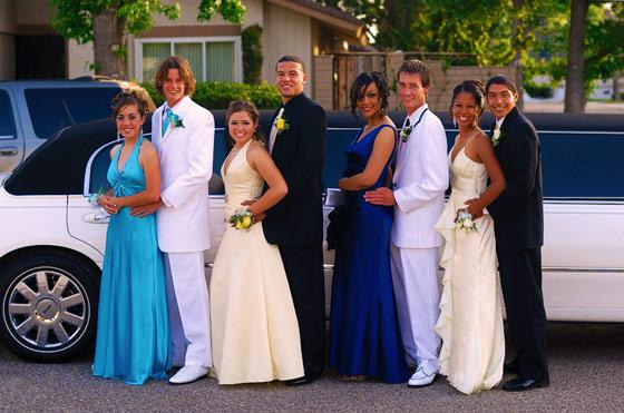 Photo of Prom Couples with White Lincoln Stretch Limousine, Clearwater High School, Clearwater, Florida. Homecoming Clearwater, Florida