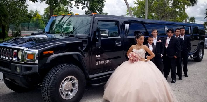 Photo of Quinceañera Party with a Black 18 Passenger Hummer Stretch Limo, Clearwater, Florida.