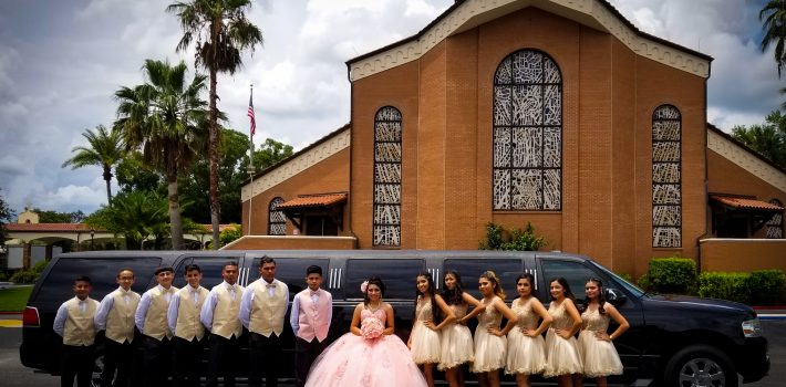 Photo of a Quinceañera party with a Black Lincoln Stretch SUV Limousine, Clearwater, Florida.