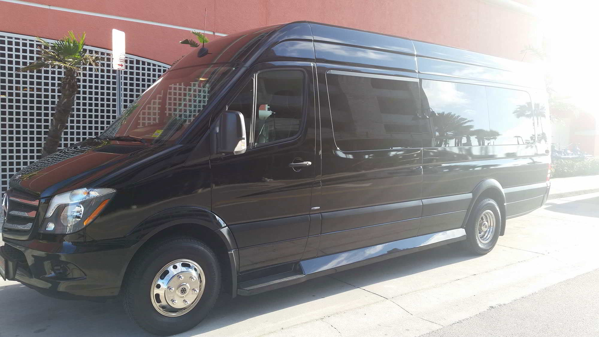 A photo of a Black 12 Passenger Sprinter Van. Executive Transportation, Clearwater, Florida