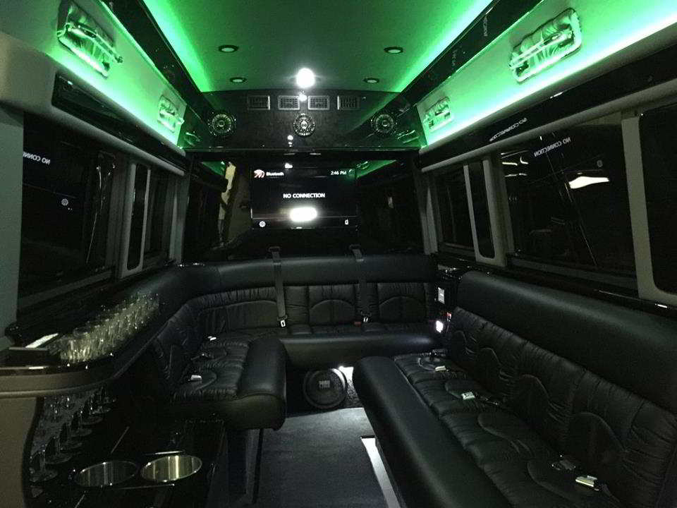 Photo of the Interior of a 12 Passenger Party Bus for a Rays Game at The (Trop) Tropicana Field, Florida