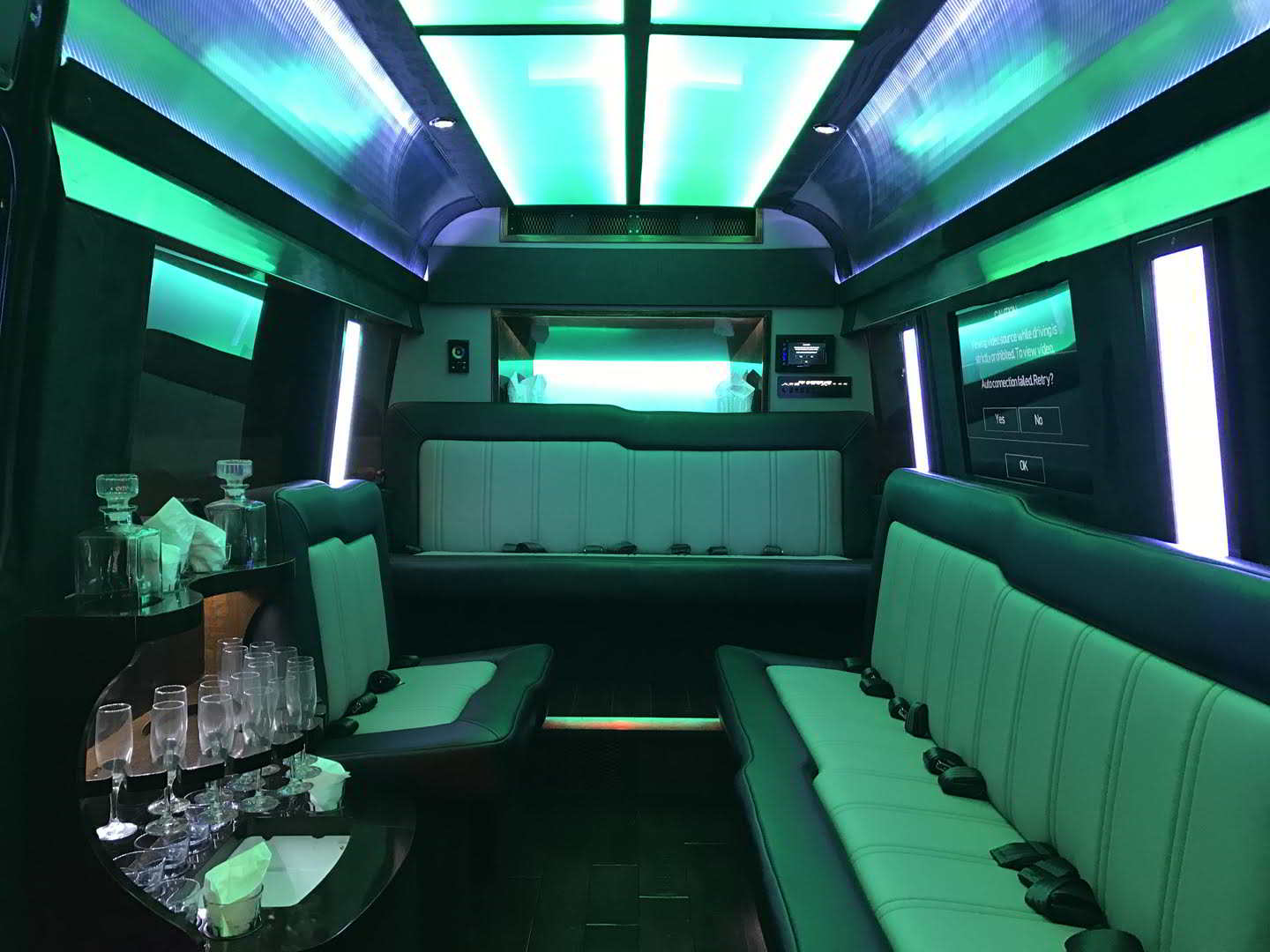 Photo of the interior of a 12 Passenger Party Bus Mercedes Benz Sprinter Van, Prom Clearwater Central Catholic High School