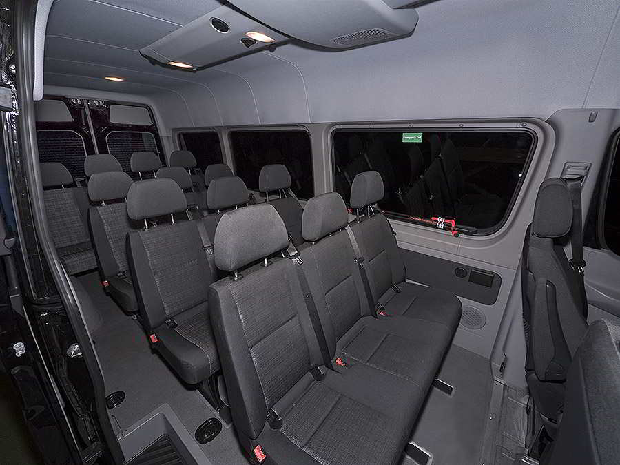 A photo of the Interior of a 14 Passenger Sprinter Van, funeral, Clearwater Beach, Florida.