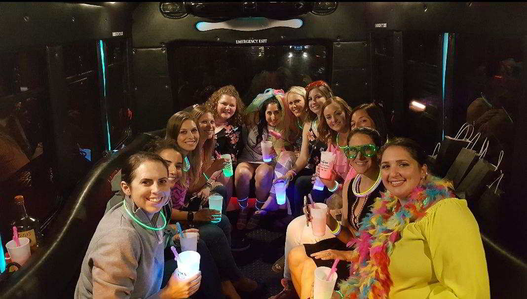 Interior Photo of a Party Bus, Bachelorette Party, Clearwater & Clearwater Beach, FL