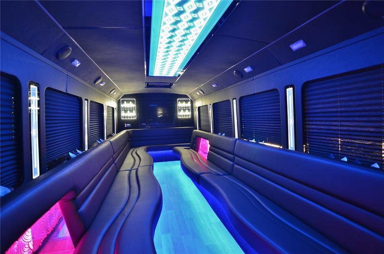 Party Bus 24 Passenger Interior Photo. 7venth Sun Brewing Company, Dunedin, FL 34698