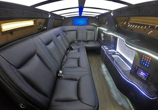 Photo of the inside of a limo waiting for it's passengers that are attending prom at Clearwater Central Catholic High School. Clearwater, FL Party Bus rentals
